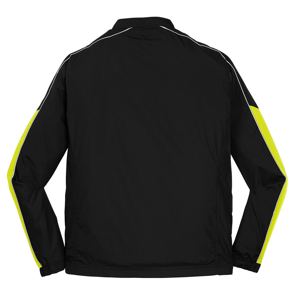 Sport-Tek Men's Black/Citron/White Piped Colorblock 1/4-Zip Wind Shirt