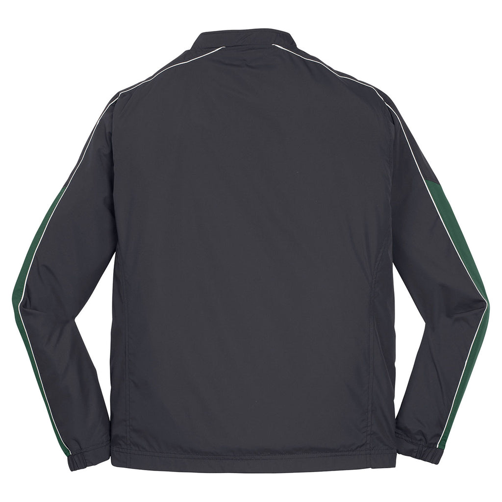 Sport-Tek Men's Graphite Grey/Forest Green/White Piped Colorblock 1/4-Zip Wind Shirt