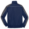Sport-Tek Men's True Navy/Iron Grey/White Piped Tricot Track Jacket