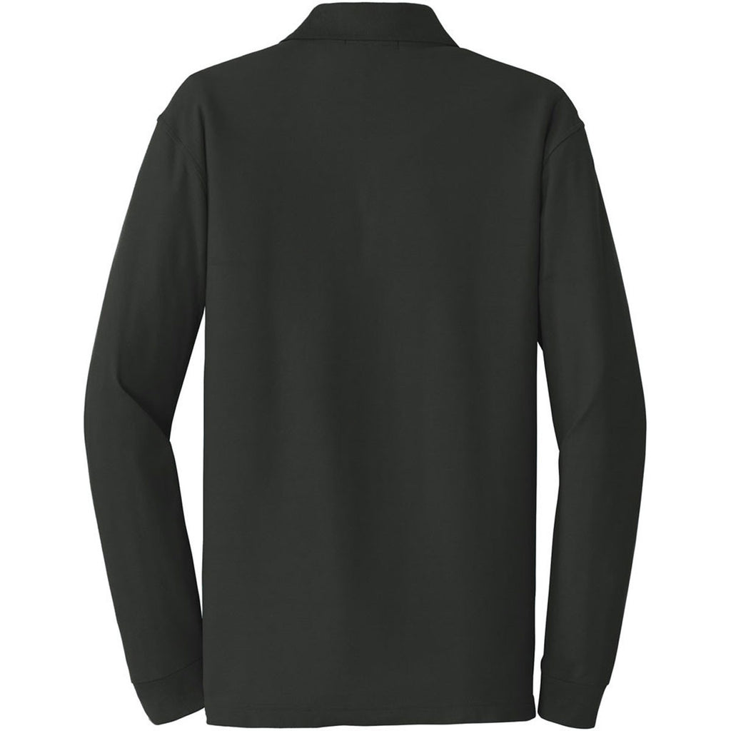 Port Authority Men's Deep Black Long Sleeve Core Classic Pique Polo