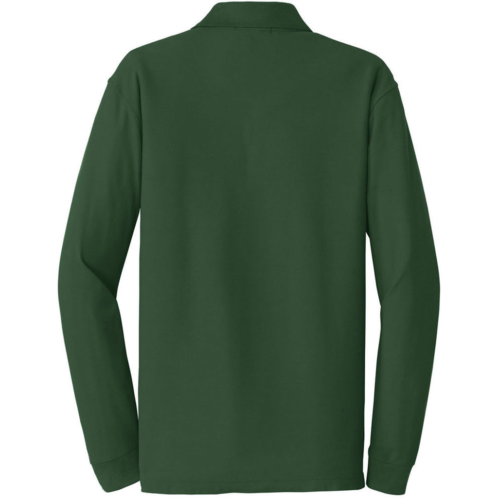 Port Authority Men's Deep Forest Green Long Sleeve Core Classic Pique Polo