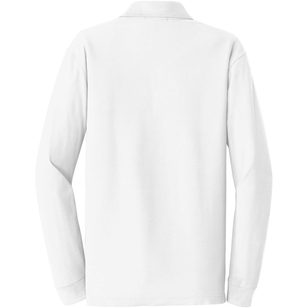 Port Authority Men's White Long Sleeve Core Classic Pique Polo