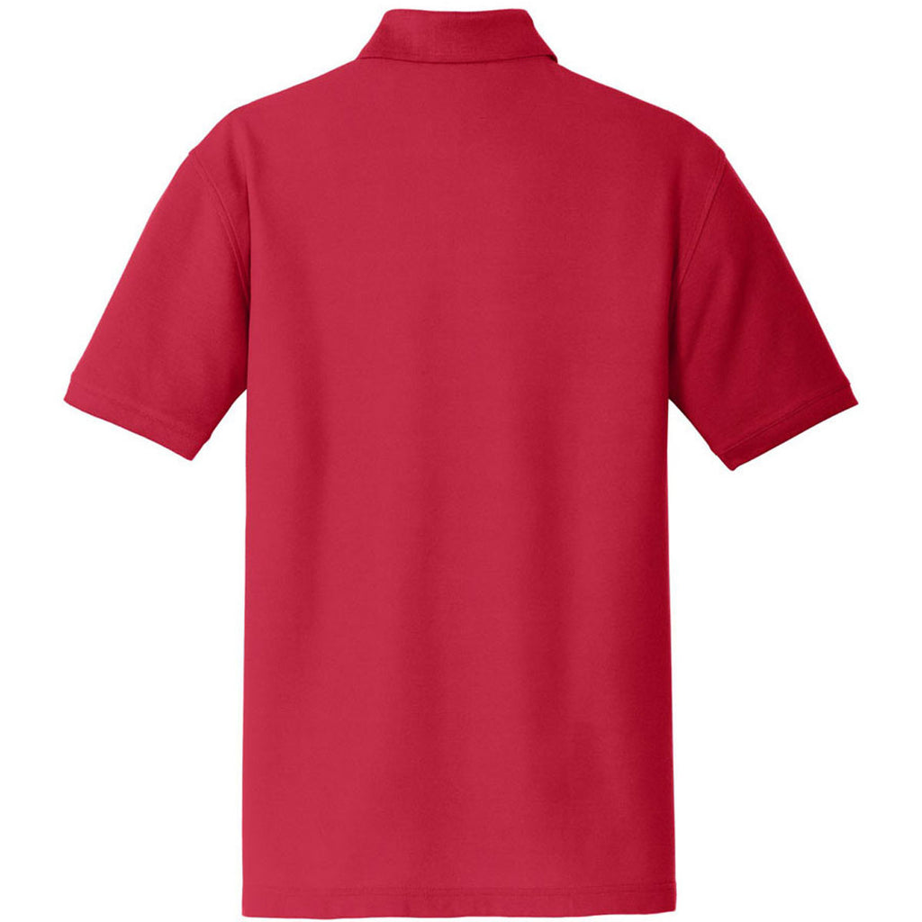 Port Authority Men's Rich Red Core Classic Pique Pocket Polo
