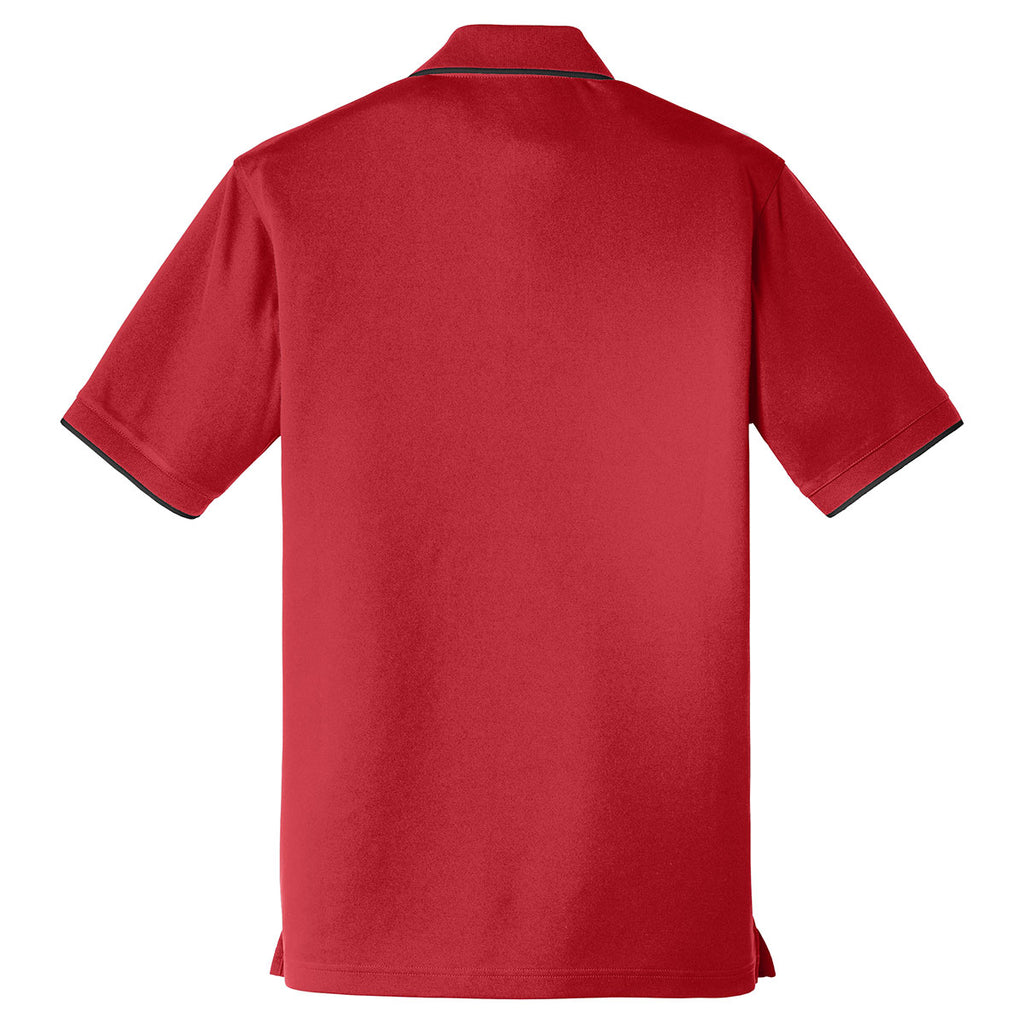 Port Authority Men's Rich Red/Deep Black Dry Zone UV Micro-Mesh Tipped Polo