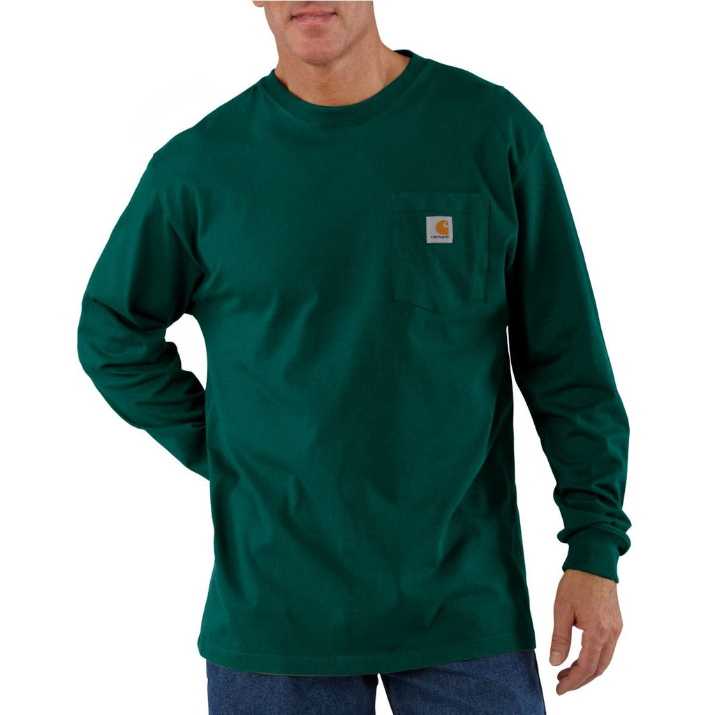 Carhartt Men's Hunter Green Workwear Pocket Long Sleeve T-Shirt