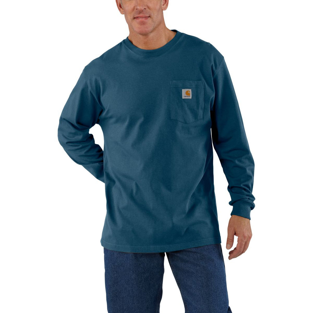 Carhartt Men's Stream Blue Workwear Pocket Long Sleeve T-Shirt