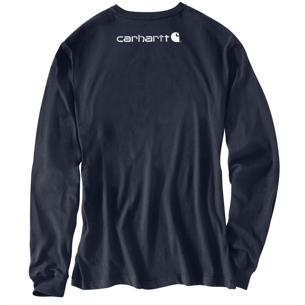 Carhartt Men's Navy Signature Sleeve Logo Long Sleeve T-Shirt