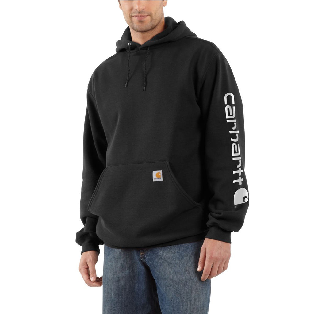 Carhartt Men's Black Midweight Signature Sleeve Logo Hooded Sweatshirt