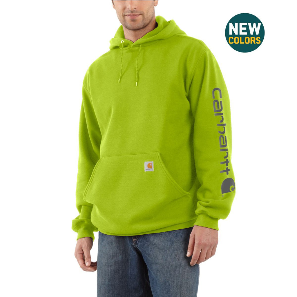 Carhartt Men's Sour Apple Midweight Signature Sleeve Logo Hooded Sweatshirt