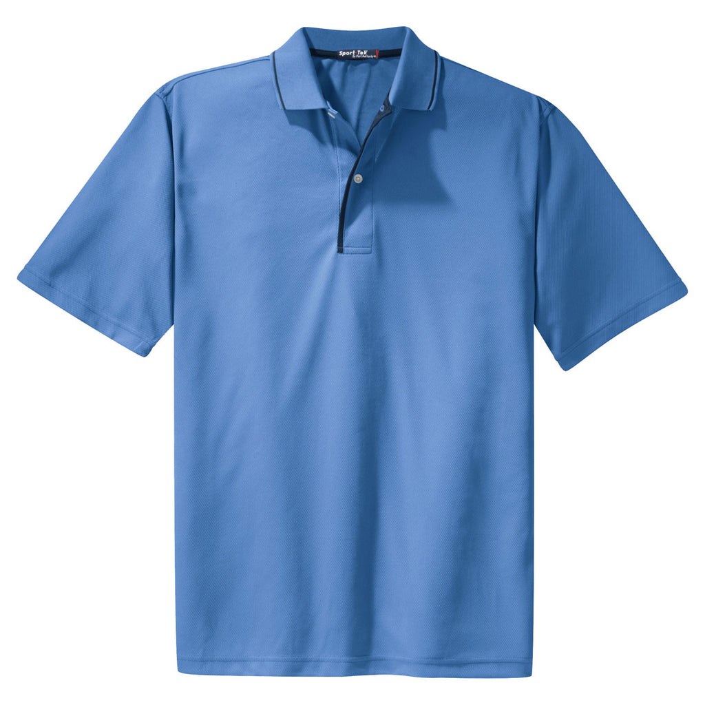 Sport Tek Mens Blueberrynavy Dri Mesh Polo With Tipped Collar And Pi