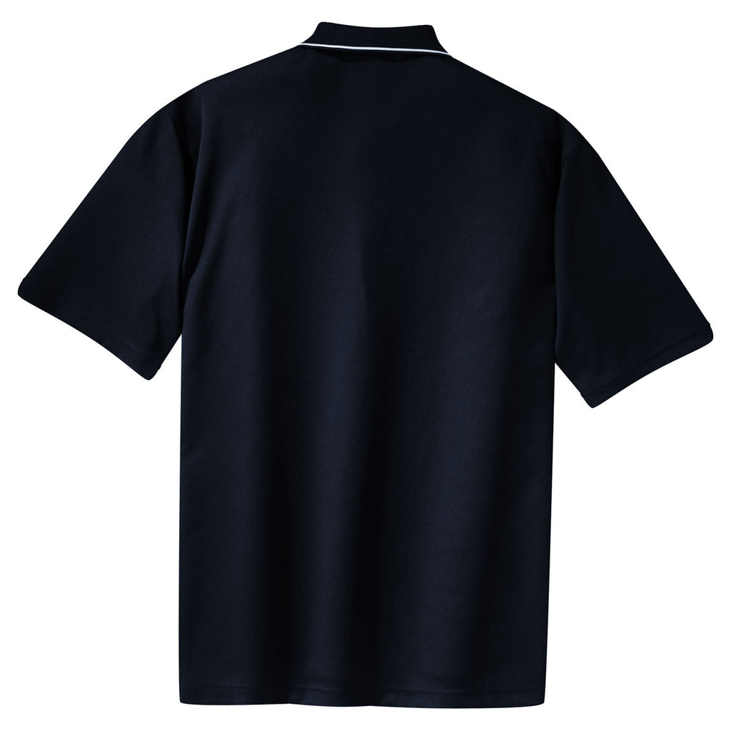 Sport-Tek Men's Navy/White Dri-Mesh Polo with Tipped Collar and Piping