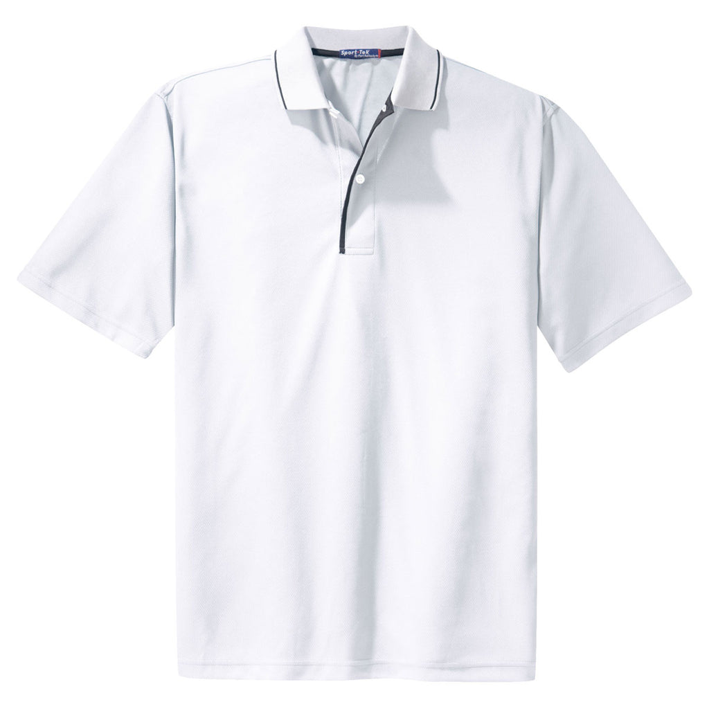 8a8e8c59 Sport-Tek Men's White/Black Dri-Mesh Polo with Tipped Collar and Piping.  ADD YOUR LOGO