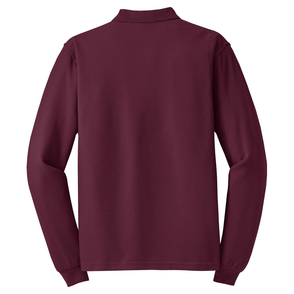 Port Authority Men's Burgundy Long Sleeve Silk Touch Polo
