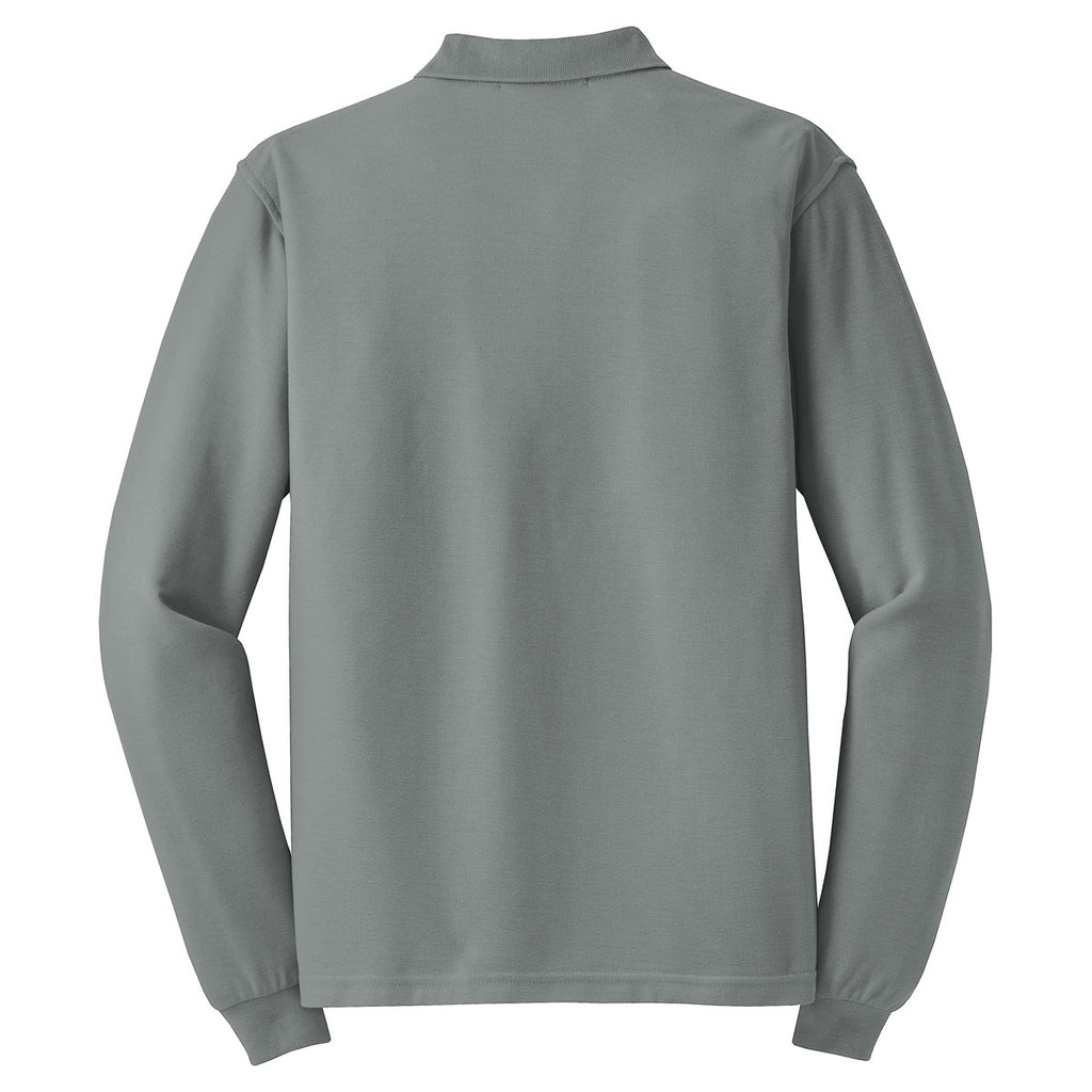 Port Authority Men's Cool Grey Long Sleeve Silk Touch Polo