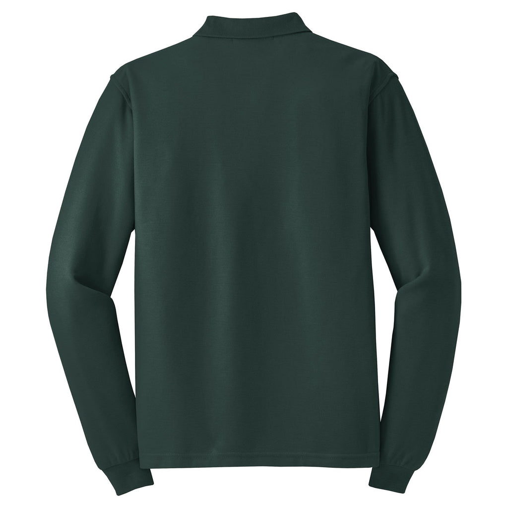 Port Authority Men's Dark Green Long Sleeve Silk Touch Polo