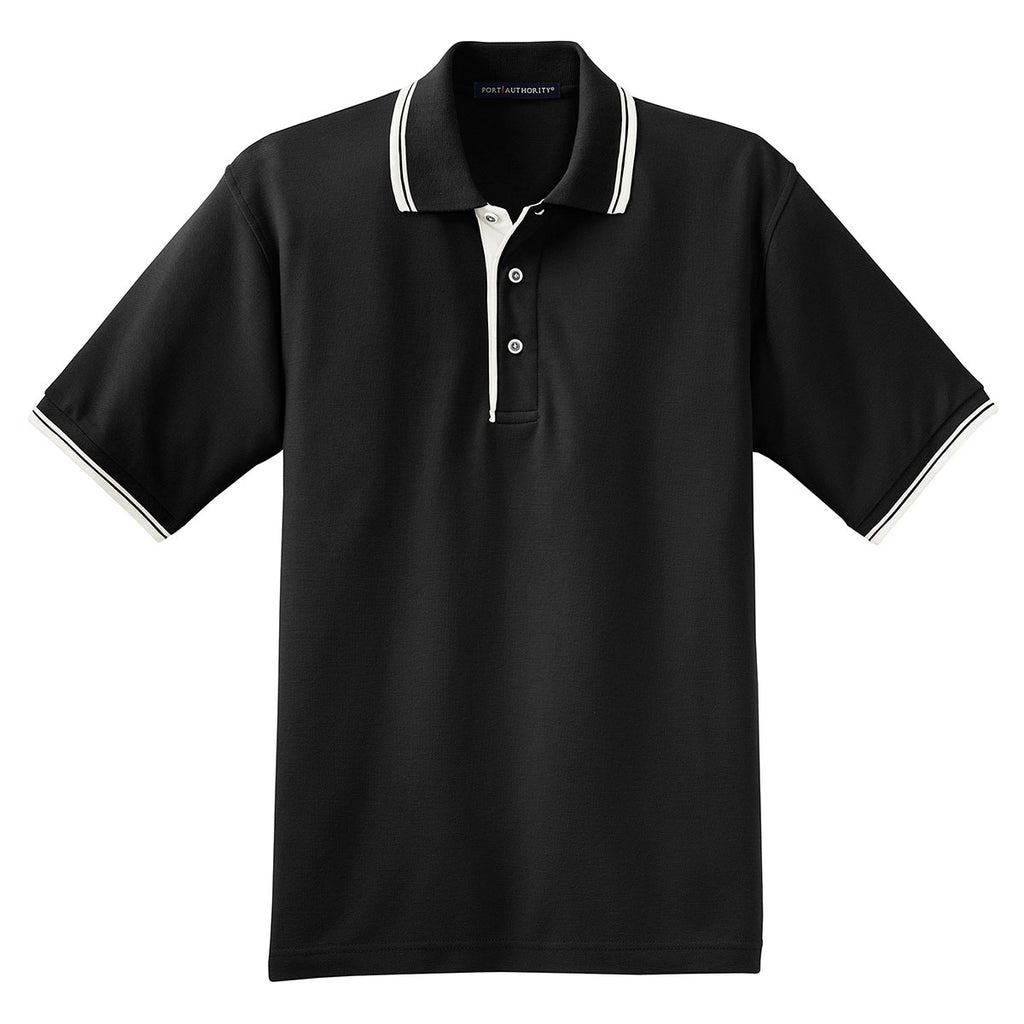 7bb3dde7 Port Authority Men's Black/Winter White Silk Touch Polo with Stripe Trim.  ADD YOUR LOGO