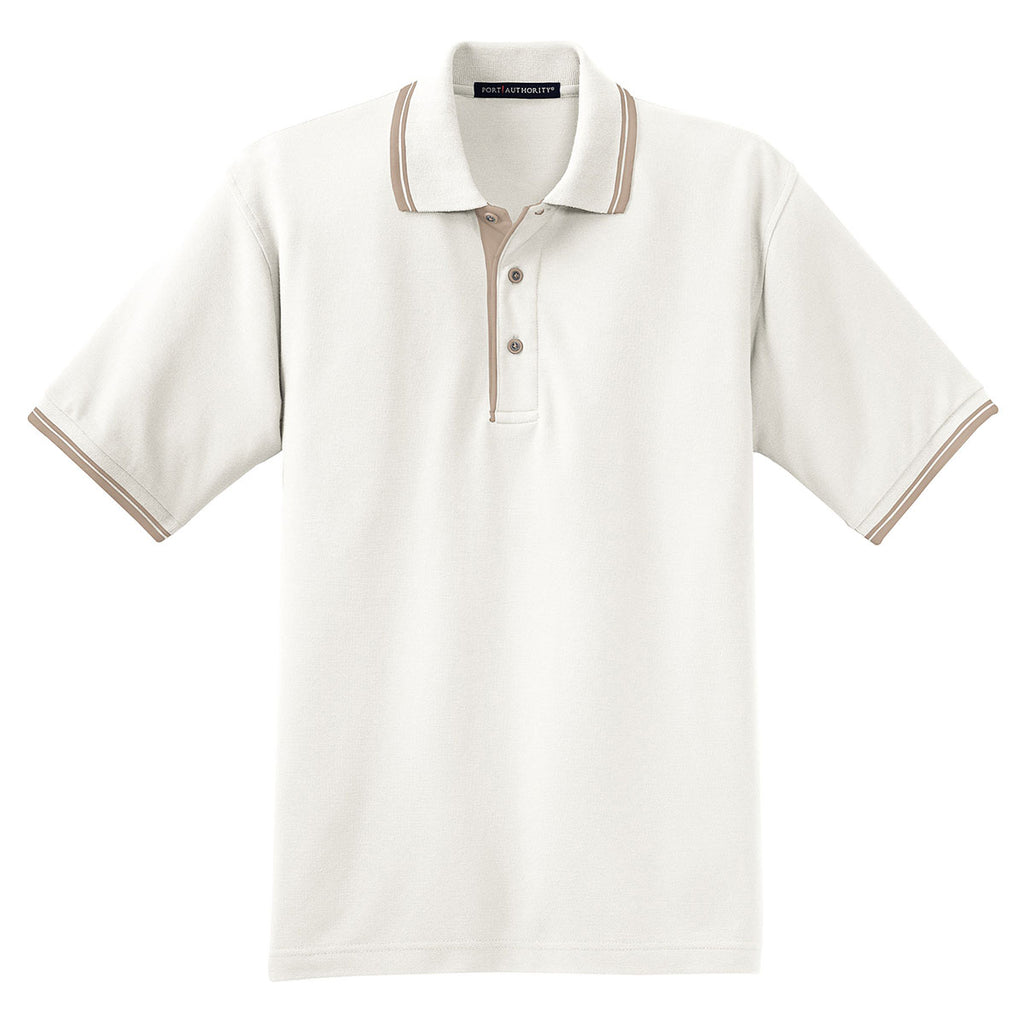 a884eb3c Port Authority Men's Winter White/Light Brown Silk Touch Polo with Stripe  Trim. ADD YOUR LOGO