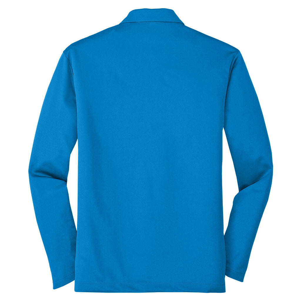 Port Authority Men's Brilliant Blue Silk Touch Performance Long Sleeve Polo