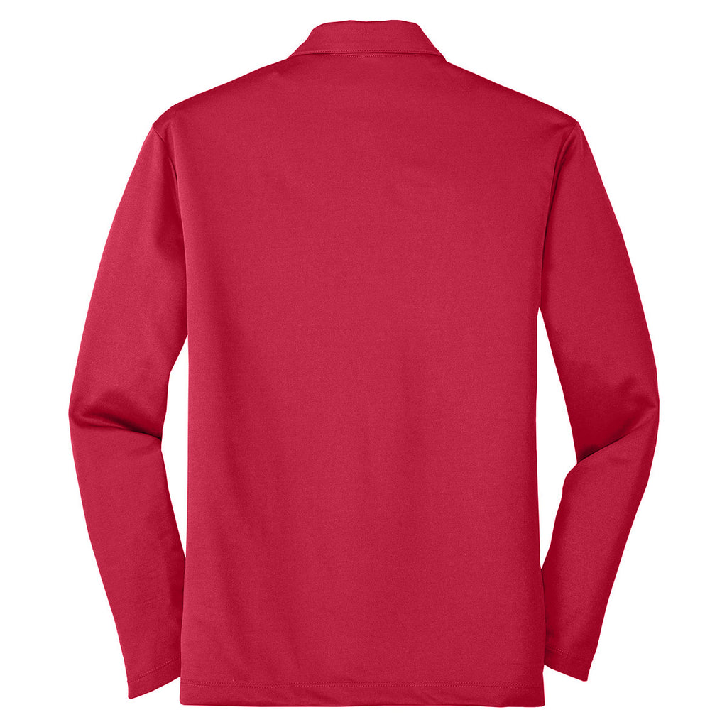 Port Authority Men's Red Silk Touch Performance Long Sleeve Polo