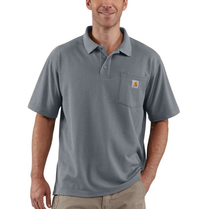 Product. Home; Carhartt Men's Steel Blue Contractor's Work Pocket Polo