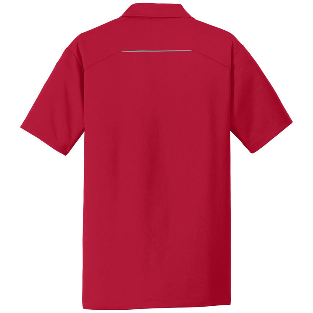 Port Authority Men's Rich Red Pinpoint Mesh Polo