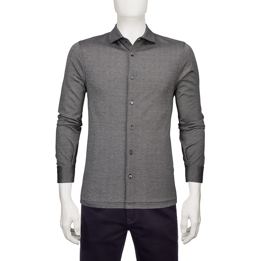 Bugatchi Mens Charcoal Full Button Wide Spread Collar With Cuffs