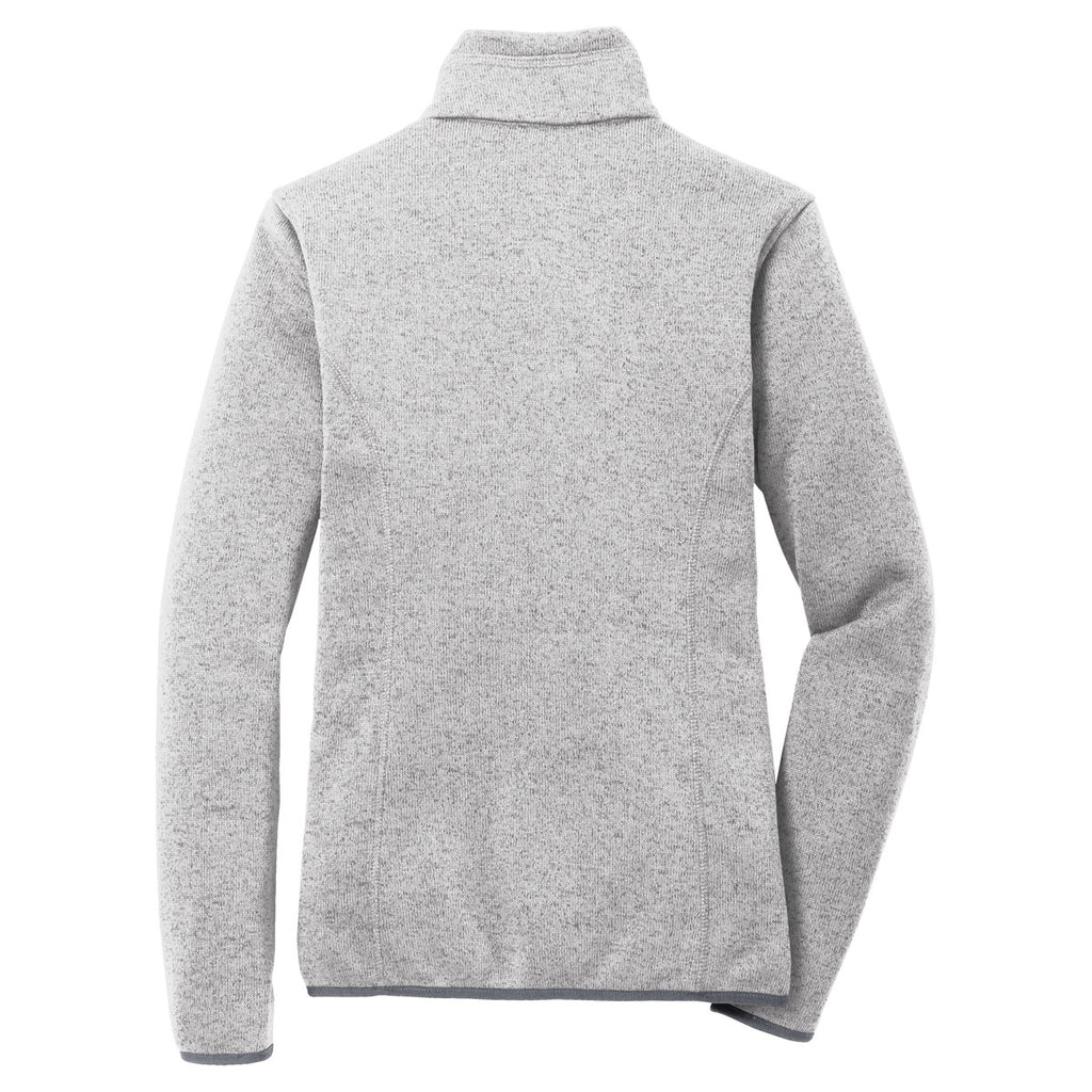 Port Authority Women's Grey Heather Sweater Fleece Jacket