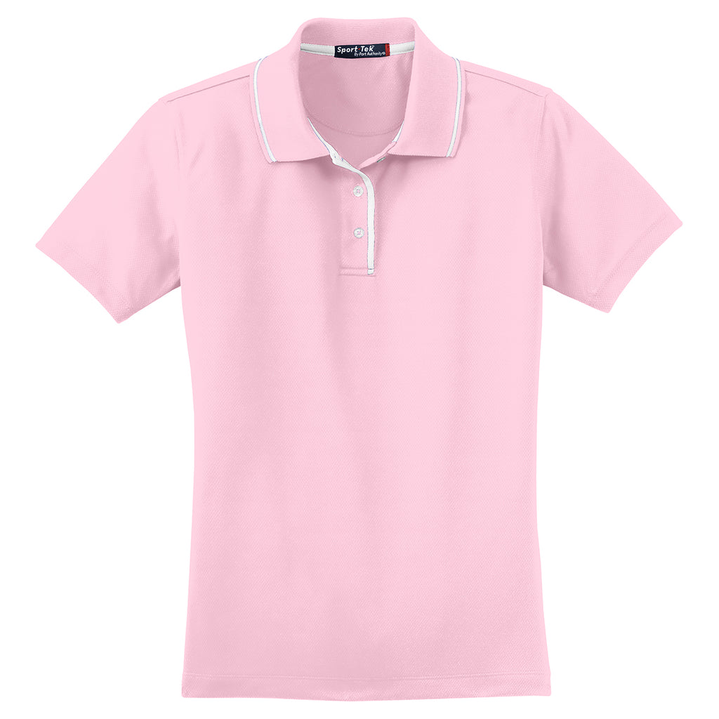 Sport Tek Womens Pinkwhite Dri Mesh Polo With Tipped Collar And Pipi