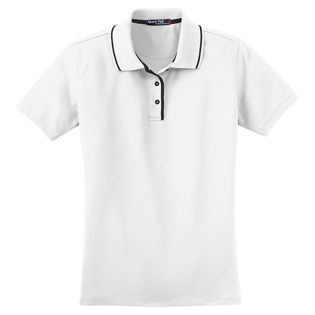 Sport Tek Womens Whiteblack Dri Mesh Polo With Tipped Collar And Pip