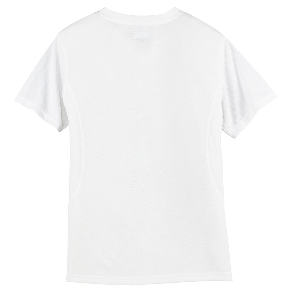 Sport-Tek Women's White Dri-Mesh V-Neck T-Shirt