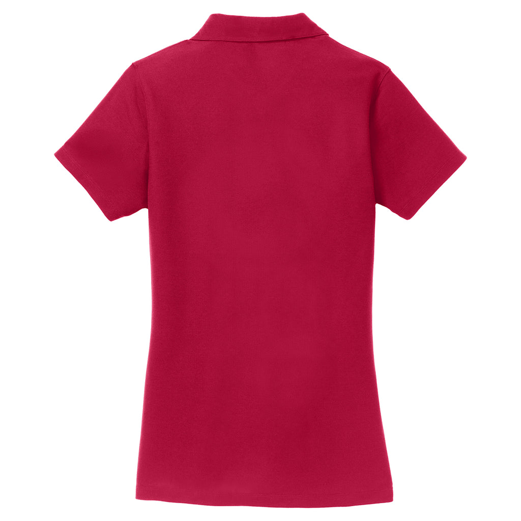 Port Authority Women's Red Silk Touch Y-Neck Polo