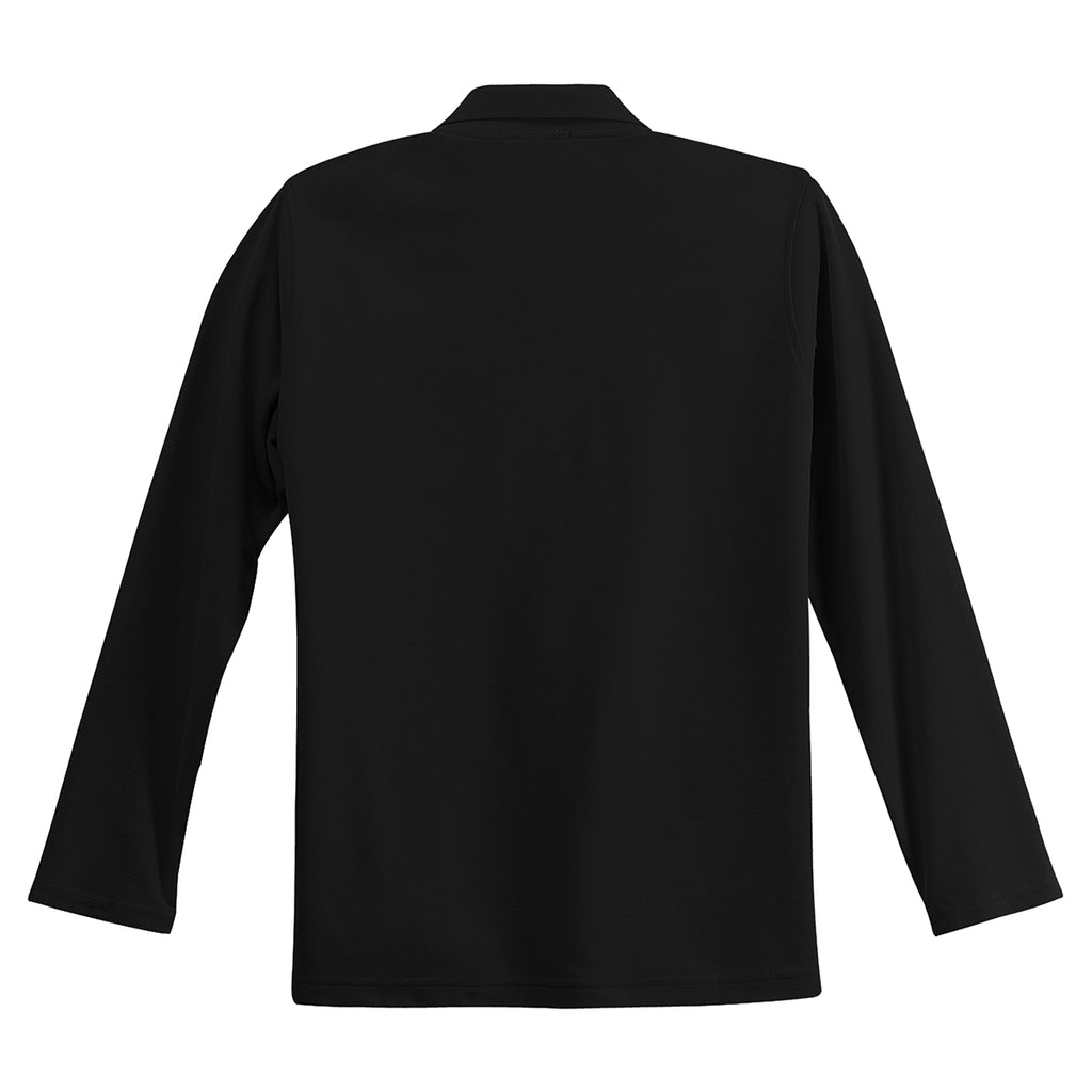 Port Authority Women's Black Long Sleeve Silk Touch Polo