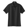 port-authority-womens-black-knit-polo