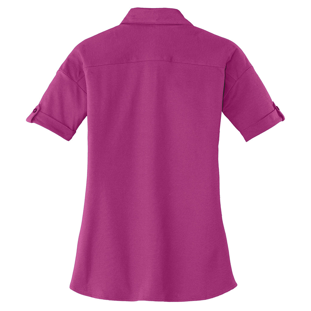 Port Authority Women's Pink Bloom Stretch Pique Button-Front Shirt