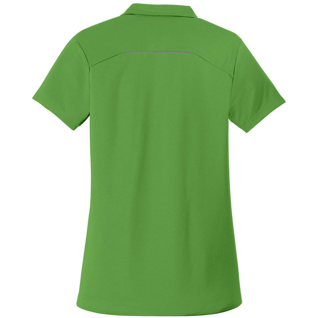 Port Authority Women's Treetop Green Pinpoint Mesh Zip Polo