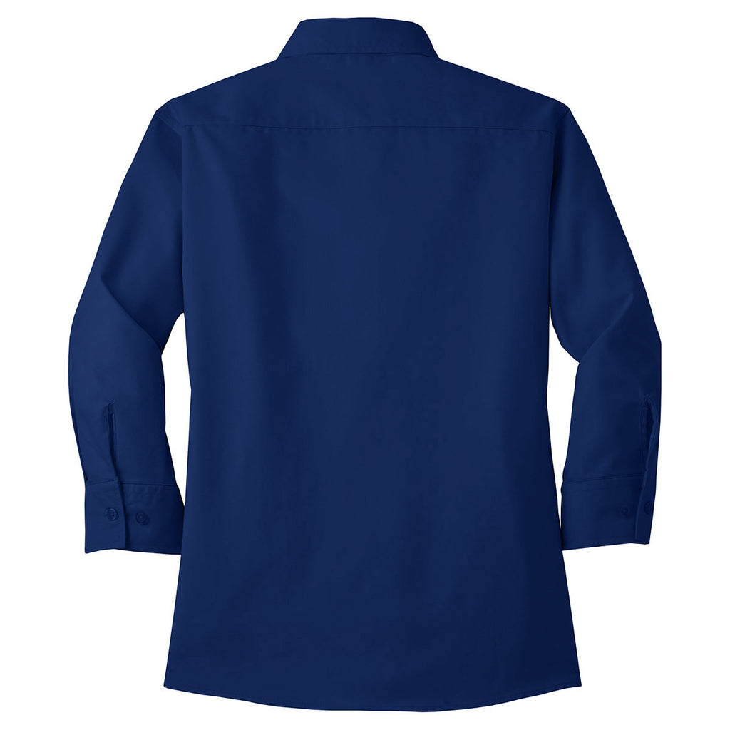 Port Authority Women's Mediterranean Blue 3/4-Sleeve Easy Care Shirt