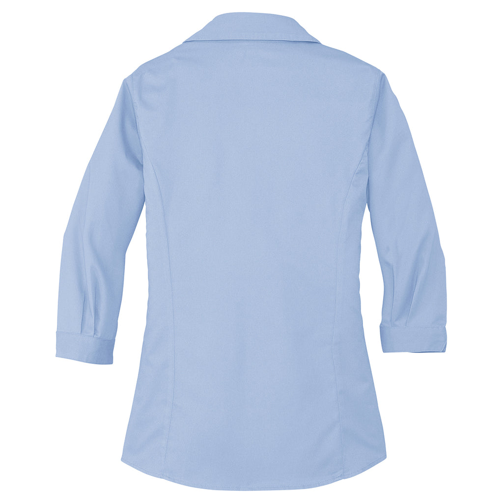 Port Authority Women's Light Blue 3/4-Sleeve Blouse