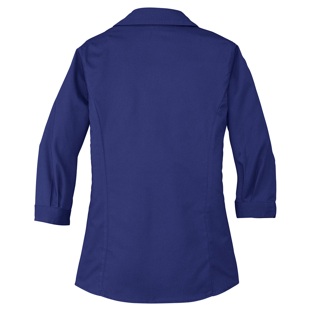 Port Authority Women's Mediterranean Blue 3/4-Sleeve Blouse