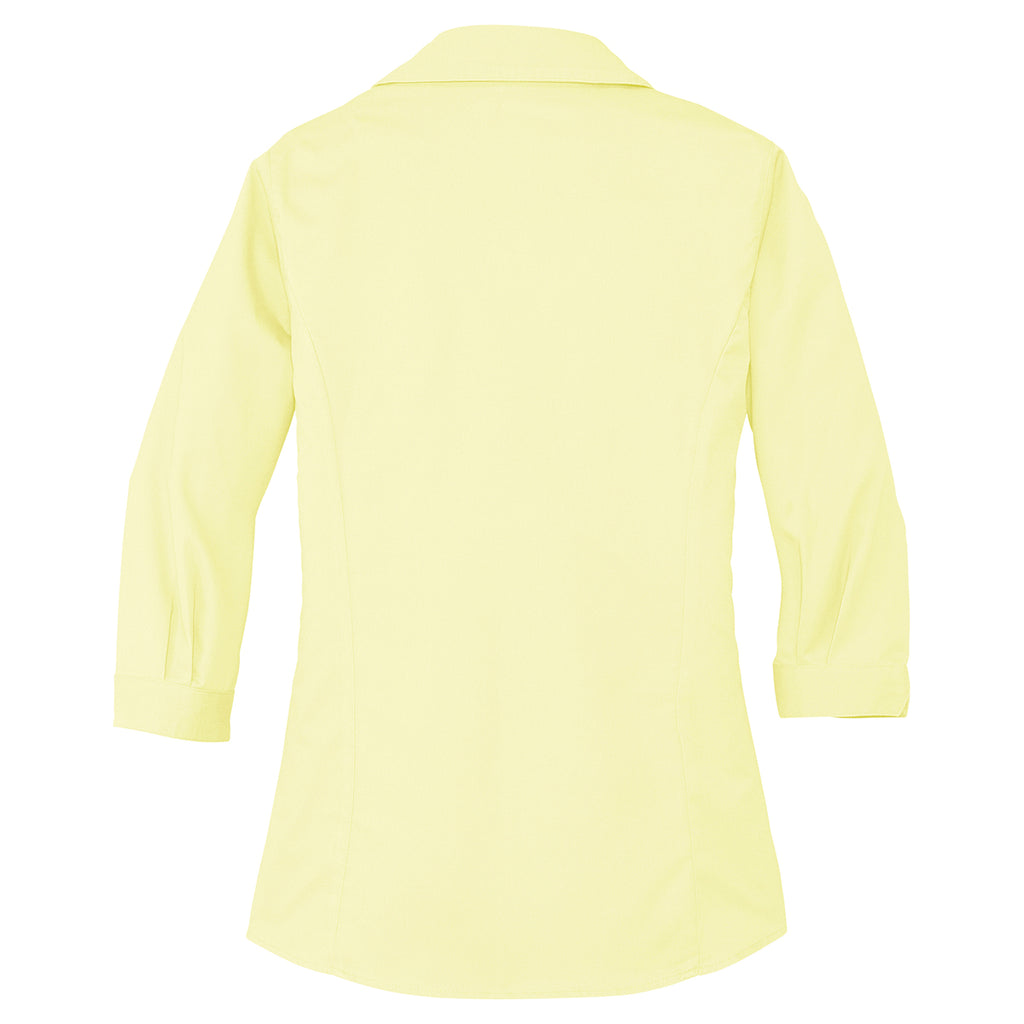 Port Authority Women's Pale Yellow 3/4-Sleeve Blouse