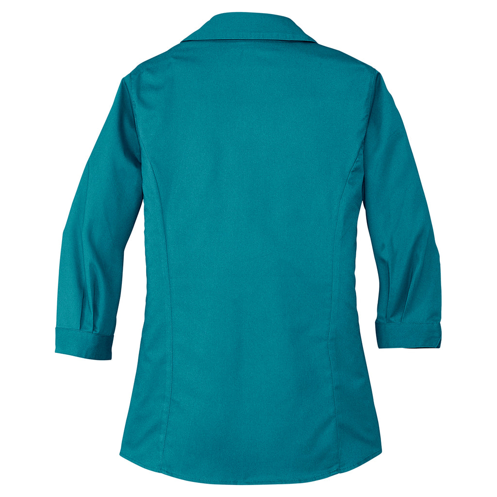 Port Authority Women's Teal Green 3/4-Sleeve Blouse