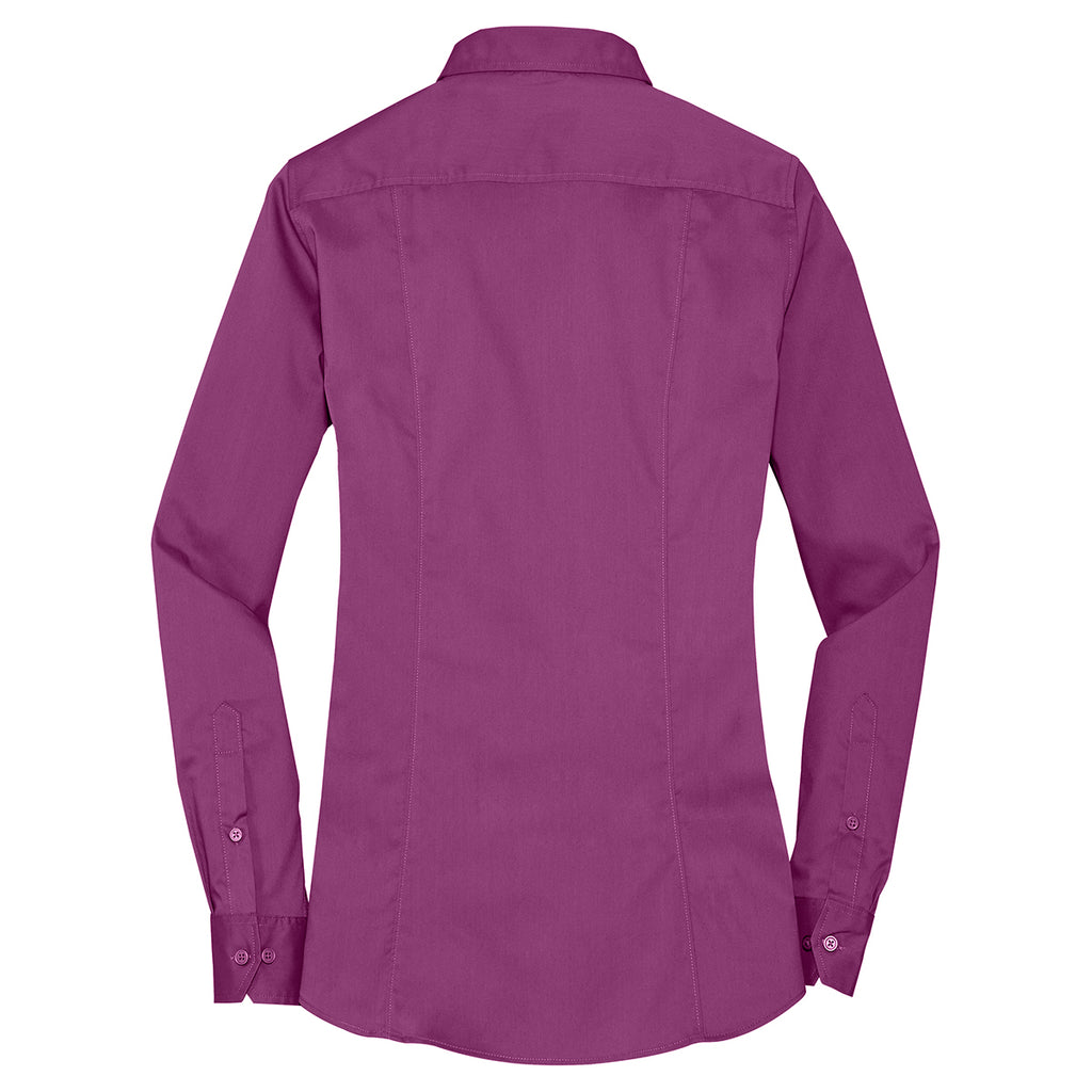 Port Authority Women's Pink Bloom Stretch Poplin Shirt