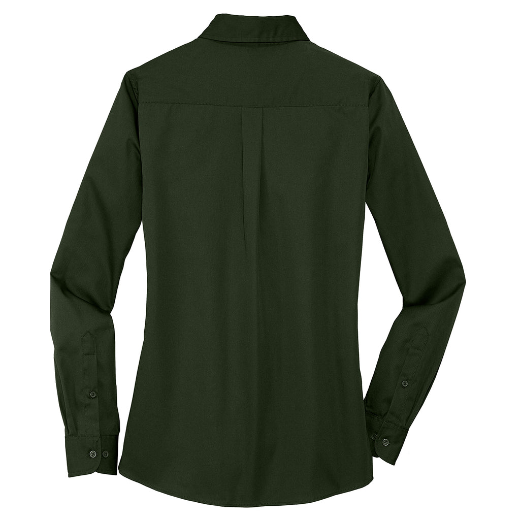 Port Authority Women's Basil Green Stain Resistant Roll Sleeve Twill Shirt