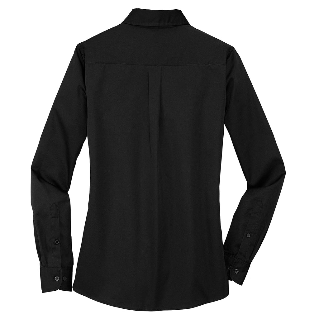 Port Authority Women's Black Stain Resistant Roll Sleeve Twill Shirt