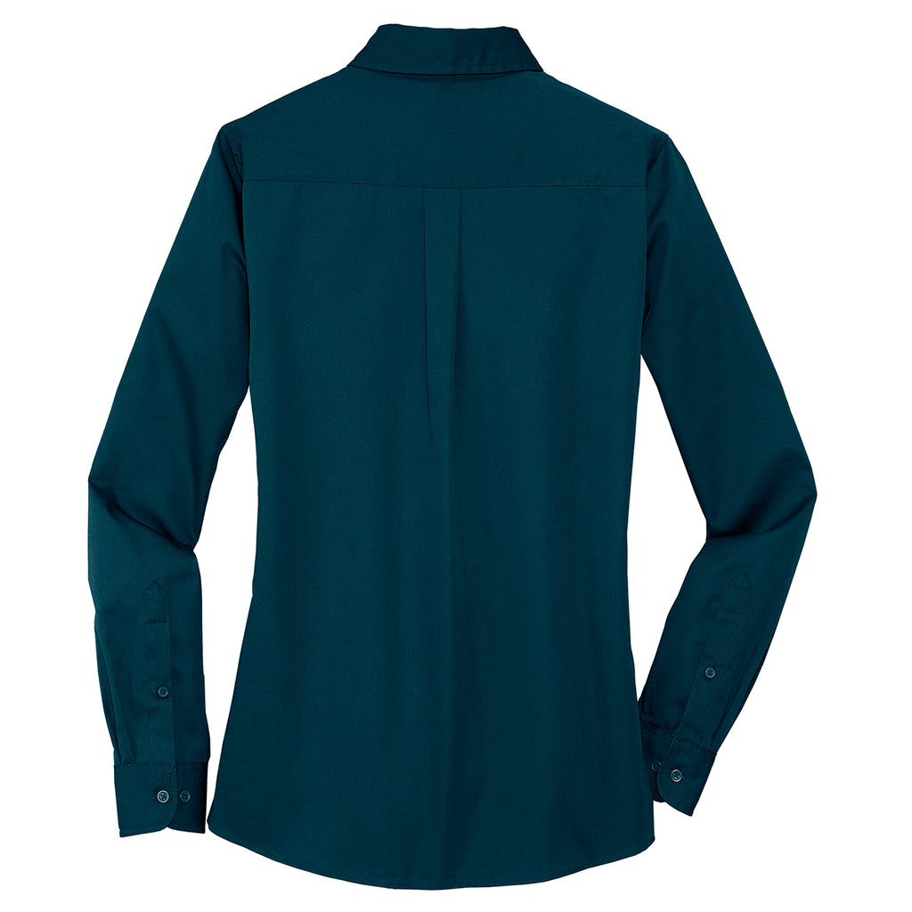 Port Authority Women's Ultra Blue Stain Resistant Roll Sleeve Twill Shirt