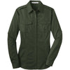 port-authority-women-green-twill-shirt