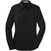 port-authority-women-black-twill-shirt