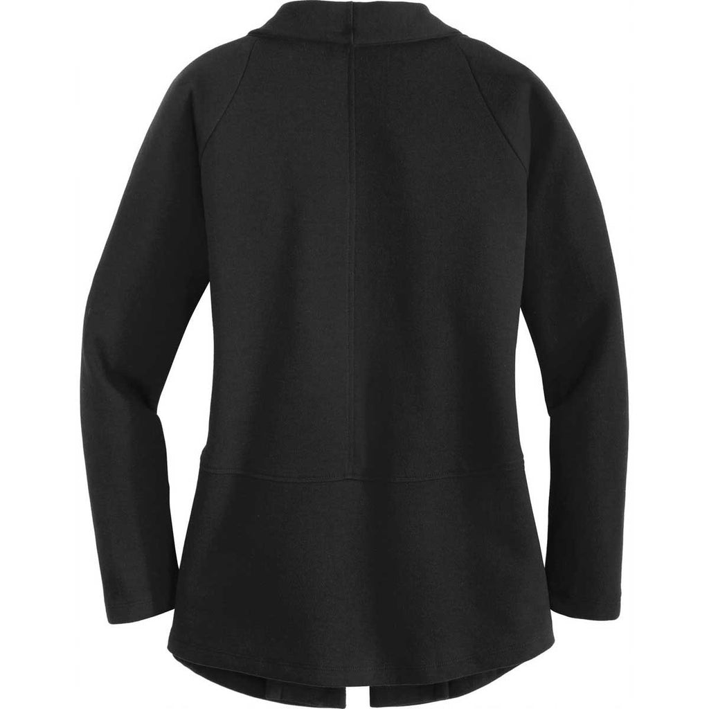 Port Authority Women's Deep Black/Charcoal Heather Interlock Cardigan