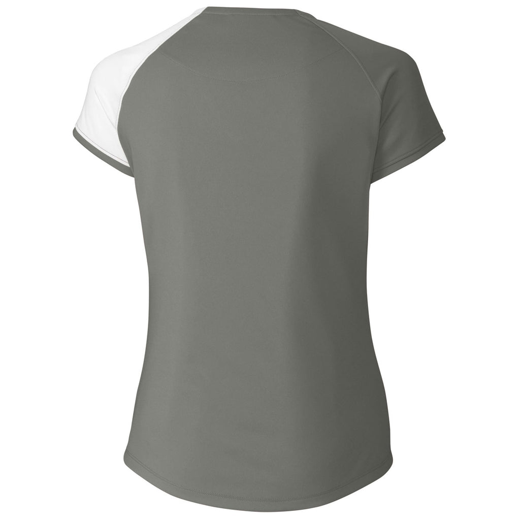 Cutter & Buck Women's Elemental Grey Short Sleeve Presley V-Neck