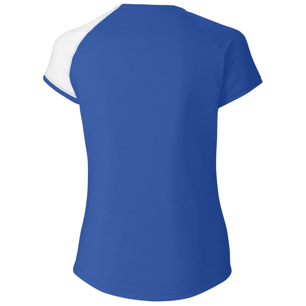 Cutter & Buck Women's Tour Blue Short Sleeve Presley V-Neck