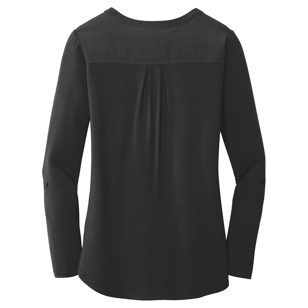 Port Authority Women's Black Concept Henley Tunic